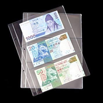 BCW 3-Pocket Currency Pages Size 3.5 x 8 Paper Money Binder Holders 500