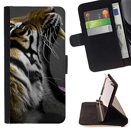 God Garden - FOR Apple Iphone 5C - Animal Tiger - Glitter Teal Purple Sparkling Watercolor Personalized Design Custom Style PU Leather Case Wallet Fli