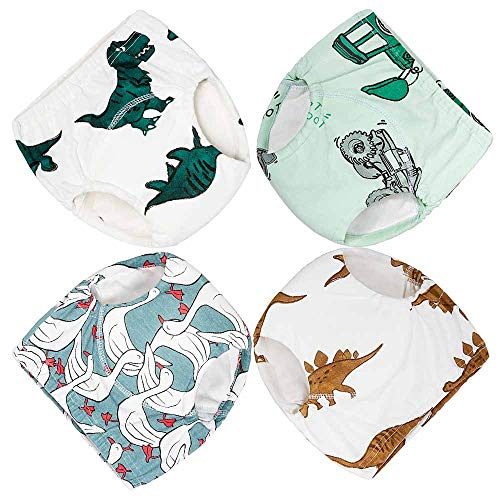 - Cotton Training Pants 4 Pack Padded Toddler Potty Training Underwear for Boys 1T