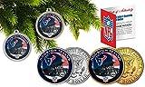 Licensed Houston Texans NFL Christmas Tree Ornament Colorized 24KT Gold JFK Half Dollar 2 Coin Set! W/H COA!