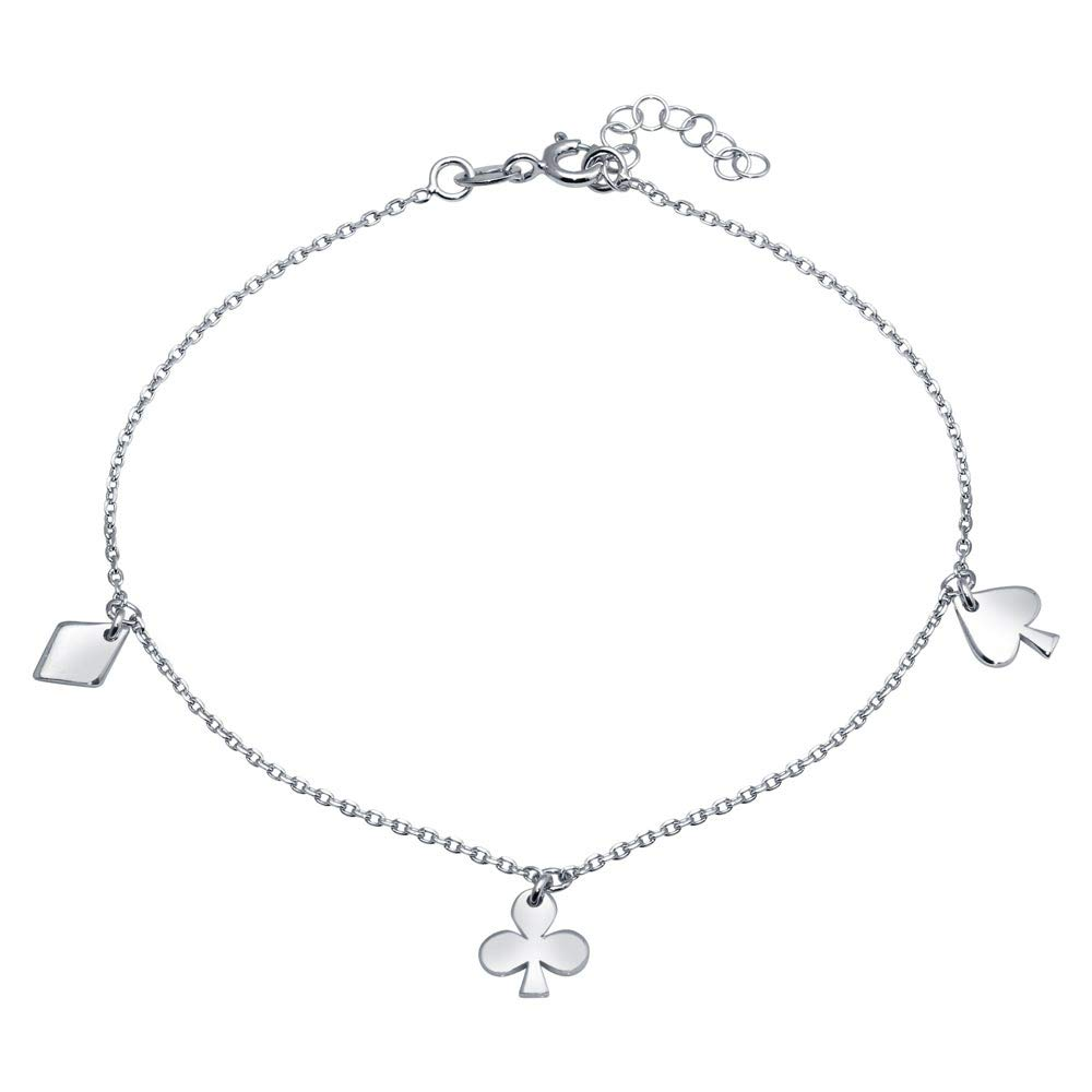 Rhodium Plated Sterling Silver Diamond Clover and Spade Charm Anklet