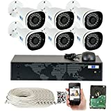 GW Security H.265 Video Audio Recording PoE IP Camera System, 8 Channel 4K NVR, 6 x 5MP HD 1920P Bullet Security Camera Built-in Microphone Outdoor Indoor, QR-Code Connection