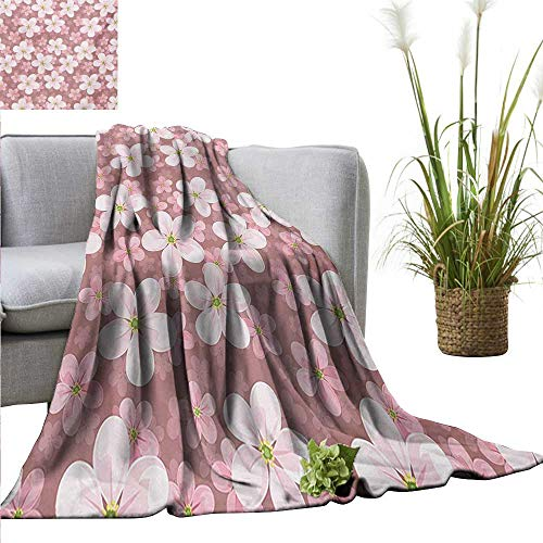 AndyTours Weighted Blanket,Flower,Cherry Blossoms Petal Plant Lovely Cartoon Children Sakura Floret Season,Dried Rose White Green,300GSM, Super Soft and Warm, Durable 50