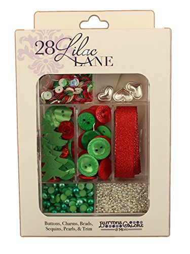 Holly Charm Jolly - Holly Jolly - Craft Embellishment Set Includes Buttons, Metal Charms, Sequins, Seed Beads, Pearl Flat Backs & Trim