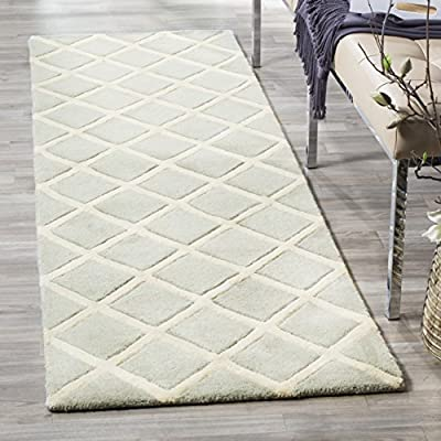 """Safavieh Chatham Collection CHT718E Handmade Grey and Ivory Premium Wool Runner (2'3"""" x 11') - The handmade, hand-tufted construction adds durability to this rug, ensuring it will be a favorite for many years. Each rug is handmade with pure, premium wool and has a cotton backing for added durability This elegant, modern rug will give your home a sophisticated style - runner-rugs, entryway-furniture-decor, entryway-laundry-room - 51SPTARiq7L. SS400  -"""