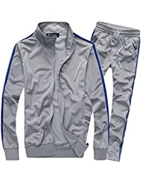 Men's Athletic Full Zip Running Tracksuit Sports Set Casual Sweat Suit