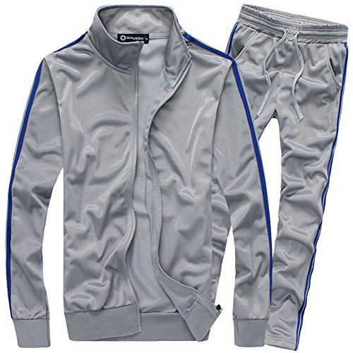 MACHLAB Men's Athletic Full Zip Running Tracksuit Sports Set Casual Sweat Suit Gray XL