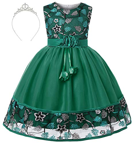AiMiNa Girls Princess Embroidered Rose Birthday Party Dress with Accessories Crown Age of 7-8 Years(Green)