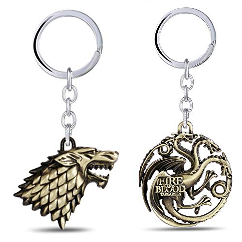 Game Pendant - Metal Keychain Game of Thrones - House Stark Sigil - Metal Key Ring Pendant - Perfect Gift for Boy Girl Man Woman Friends