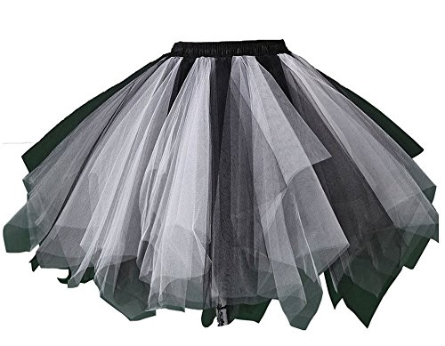80s Prom Queen Costume - MsJune Women's 1950s Vintage Petticoats Crinolines Bubble Tutu Dance Half Slip Skirt Black & White-S/M