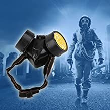 Lexiesxue Black Gas Mask Emergency Survival Safety Respiratory Gas Mask Anti Dust Paint Respirator Mask with 2 Dual Protection Filter