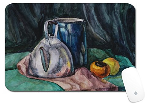 Luxlady Large Mouse Pad XL Extended Non-Slip Rubber Extra Large Desk Mat 18x12 Inch IMAGE ID: 22116019 Still life with Metal Teapot and Milk can Watercolor Painting