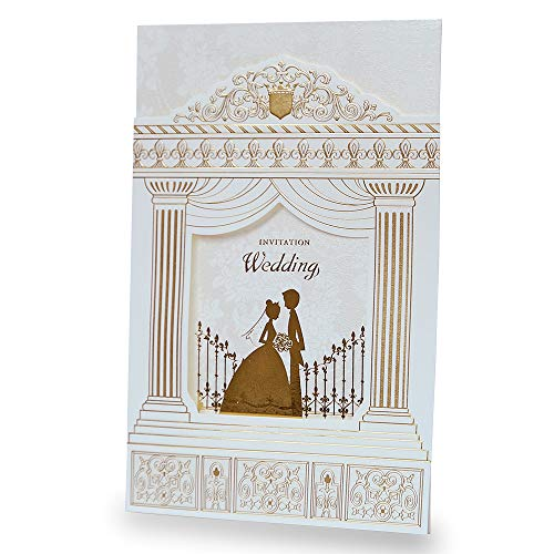 Dream Bulit 50pcs Fashion Wedding Invitation Cards,Gold Foiling Frame Church Style Wedding Invitations,BH1118 (50)