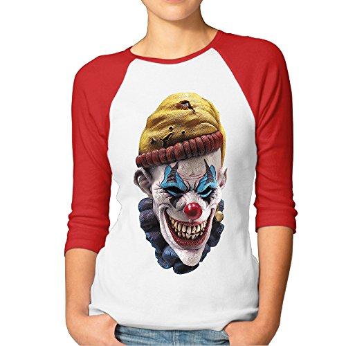 Clown 3/4 Mask - FF Fashion-S Women's Clown Mask Two-tone Raglan 3/4 Sleeve Baseball Tee Shirts Red