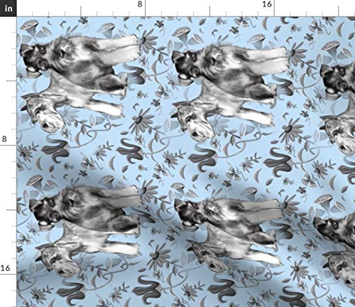 Spoonflower Schnauzer Fabric - Blue Schnauzer Schnauzer Dogs Pets Flowers Garden Animals Pet Dog by Dogdaze Printed on Fleece Fabric by The Yard
