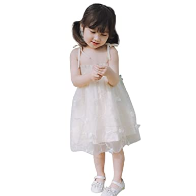 e19ae0a563a0 ... Princess Dress for 1-4 Years, Toddler Baby Kid Girls Embroidery Dress  Strap Backless Net Yarn Princess Dress Clothes Summer 2018: Amazon.co.uk:  Clothing