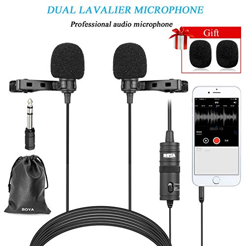 BOYA Professinal Dual Lavalier Microphones, Omnidirectional Condenser Clip-on Lapel Mic for Camera,DSLR,iPhone,Android,Huawei,Sony,Laptop,Guitar, Great for Interview,Youtube,Rap,Podcasting,Vlog