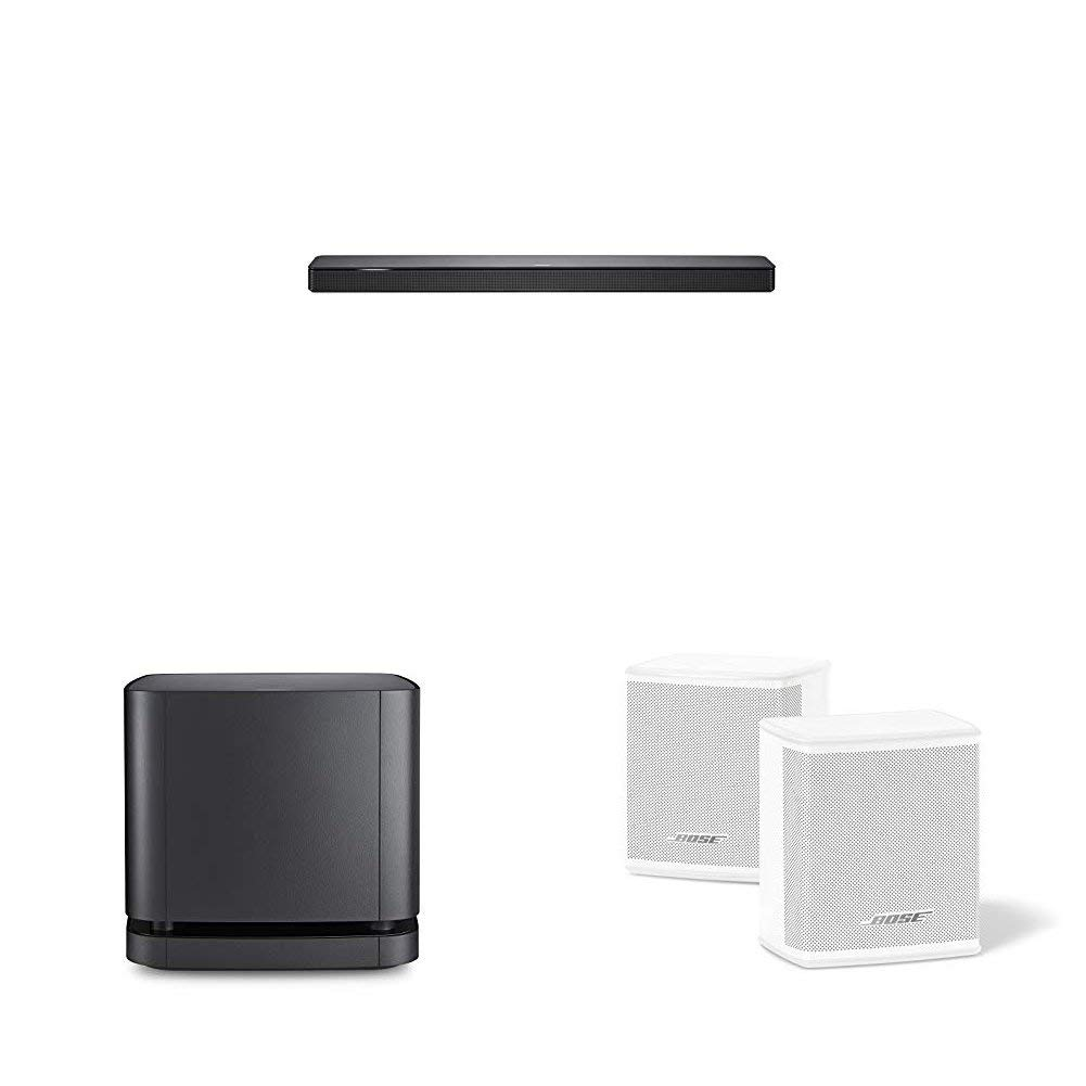 Bose - Barra de sonido 500, Bluetooth y Wifi, negro + Bass Module 500, inalámbrico, negro + Bose 809281-2200 - Surround Speakers, blanco