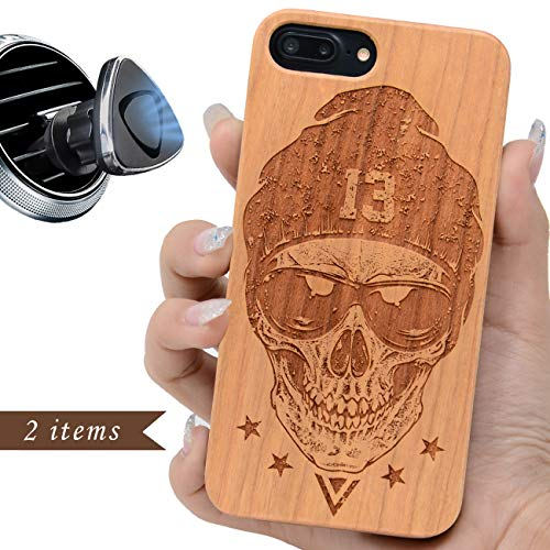 iProductsUS Skull Phone Case Compatible with iPhone 8, 7, 6/6S and Magnetic Mount-Wood Phone Cases Engraved Cool Skull, Built-in Metal Plate, TPU Rubber Shockproof Protective Cover (4.7 inch) -
