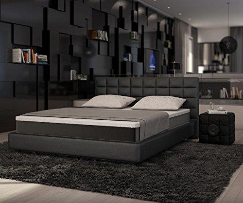 Caja primavera cama 180 x 200 de junio de negro cama con colchón y Topper: Amazon.es: Hogar