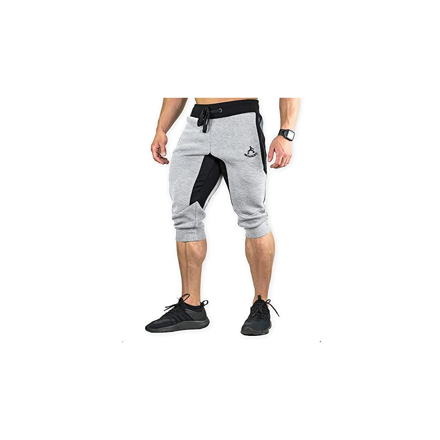 MAIKANONG Men's 3/4 Jogger Pants Cotton Sweatpants Training Tapered Stretchywith ZipperPockets Sports Running Gym