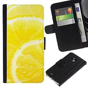 LASTONE PHONE CASE / Lujo Billetera de Cuero Caso del tirón Titular de la tarjeta Flip Carcasa Funda para Samsung Galaxy S4 Mini i9190 MINI VERSION! / Fruit Macro Lemon Slice