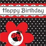 16-Count Paper Lunch Napkins, Ladybug Fancy Happy Birthday