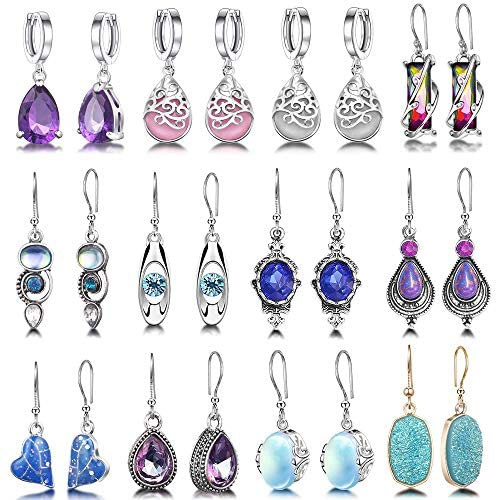 12 Pairs Teardrop Crystal Drop Dangle Earrings for Women Girls Cubic Zirconia Hoop Earring Threader Earrings Jewelry Set Christmas Gifts