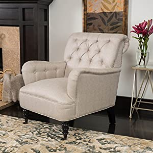 Great Deal Furniture Renate Haven Linen Tufted Club Chair w/Nail Head Accents