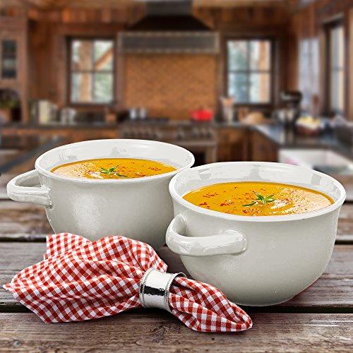 Crockpot 22-ounce Double Handle Soup Bowls, Set of 4 (White) by Crock-Pot (Image #2)