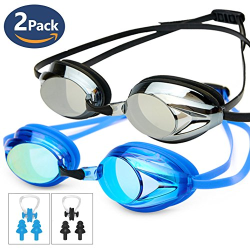 Swim Goggles Pack of 2,POKTOK Swimming Goggles No Leaking Anti Fog UV Protection Triathlon with Silicone Nose Clip Ear Plugs for Men Women Adult Youth Child Kids