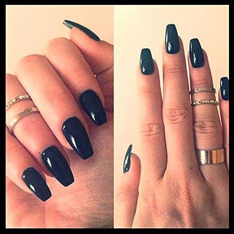 Xelparuc® - 500 uñas de coffin transparente con punta de bailarina para uñas, cubierta completa, acrílico, uñas postizas, 10 tamaños para salones de uñas y ...