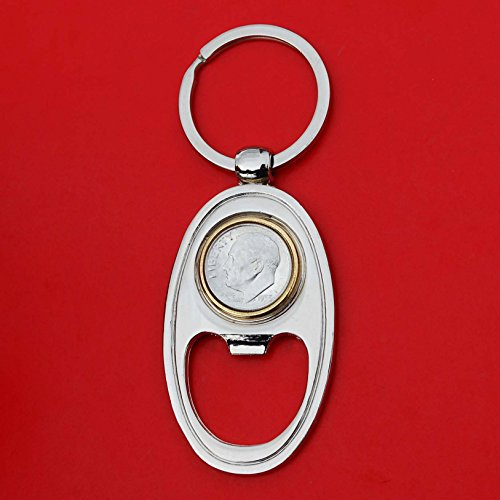 US 1953 Roosevelt Dime 90% Silver 10 Cent Gem BU Uncirculated Coin Gold Silver Two Tone Key Chain Ring Bottle Opener NEW