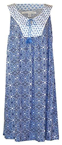 (Carole Hochman Scroll Blues Sleeveles Plus Size Nightgown (Navy, Blue, White Multi Print, 1X))