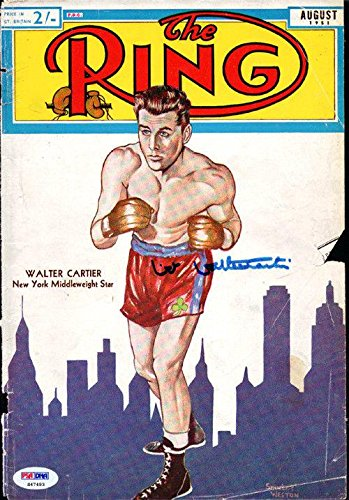 Walter Cartier Autographed Signed The Ring Magazine Cover S47493 PSA/DNA Certified Autographed Boxing Magazines