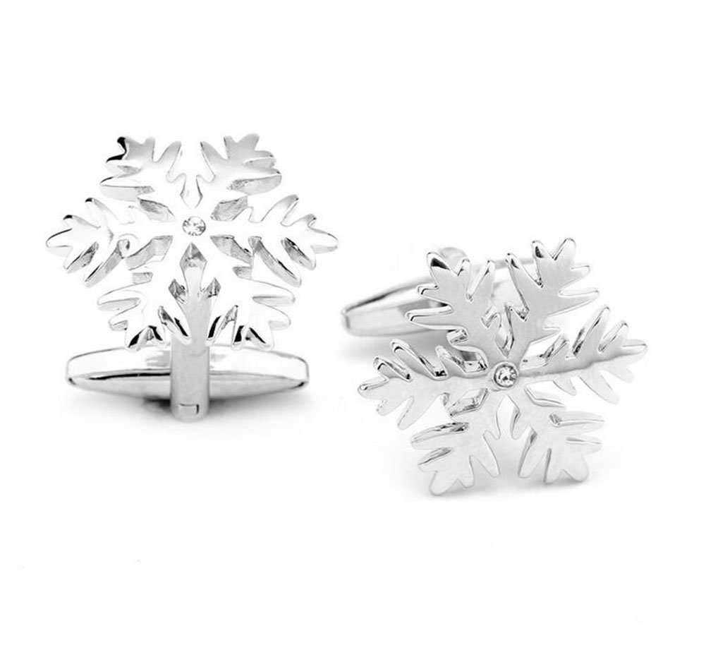 Hosaire Cufflinks Men's Silver SnowFlake Cuff-link Cuff Link with Rhinestones For Wedding Party