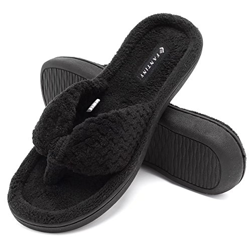 Fanture Women's Cozy Memory Foam Spa Thong Flip Flops House Indoor Slippers Plush Gridding Velvet Lining Clog StyleU4MTW003-Black -38-39 by Fanture