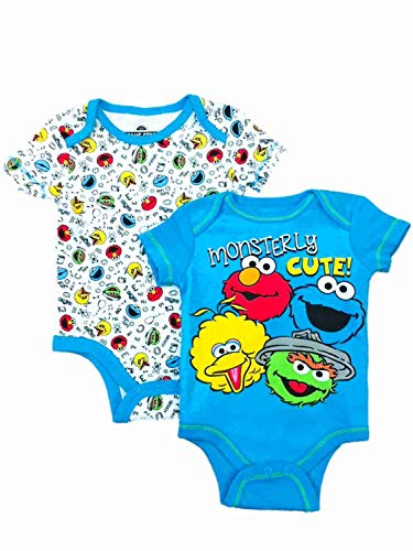 Sesame Street Infant Bodysuit 2-Pack, Blue White, 12 Month