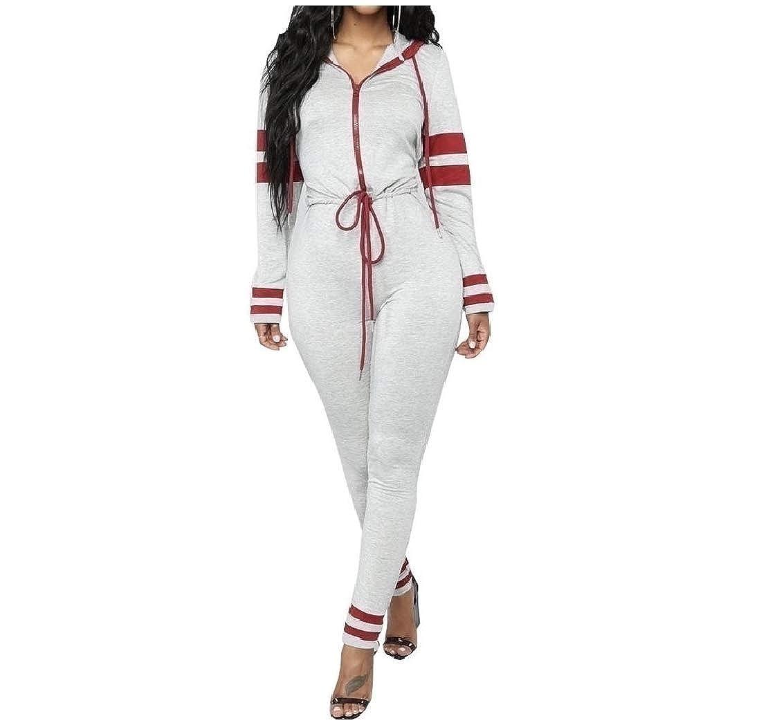 DressUWomen Stripe Belt Hoodie Bodycon Long Jumpsuit