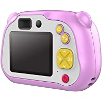 Hamkaw Cámara para Niños, Camara De Fotos para Niños con Doble Cámara WiFi Cámara Recargable De 1080P Cámara Digital para Niños con HD Pantalla A Color Videocámara Infantil