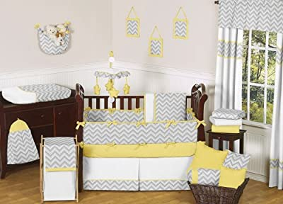 Modern Gray And Yellow Zig Zag Grey Baby Boy Girl Unisex 9pc Bedding Crib Set from Sweet Jojo Designs