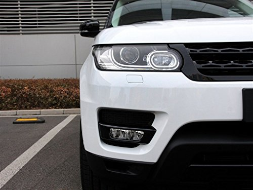 Strip Land Rover (Black ABS Front Light Lamp Strips Cover Trim For Land Rover Range Rover Sport 2014-2017)