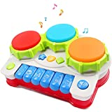 #3: Musical toys, AMOSTING Music Piano Keyboard Drums Learning Toy Best Christmas Gift for Toddler Baby Kids Educational Game.