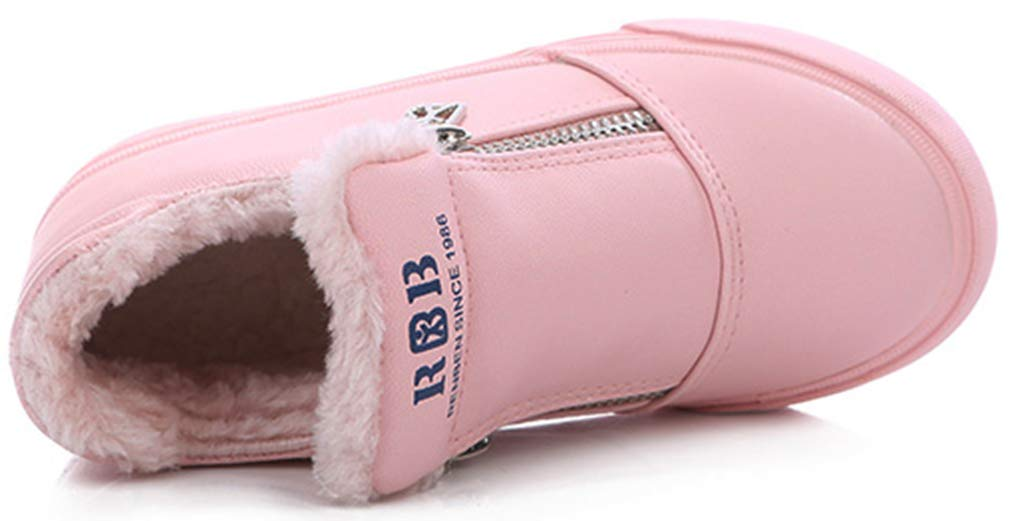 VECJUNIA Boy's Girl's PU Waterproof Thicken Ankle High Winter Snow Boots (Pink, 9 M US Toddler) by VECJUNIA (Image #2)