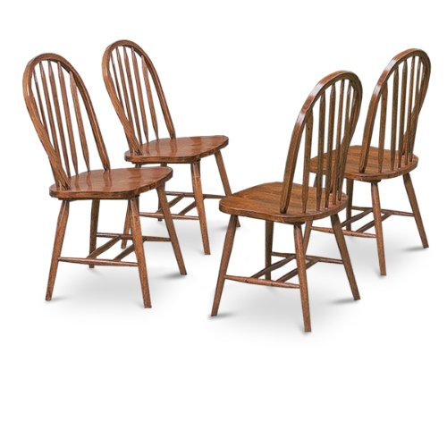 4 Dark Oak Stain Kitchen Dining Arrow Back Chairs (Classic Diner Chair)
