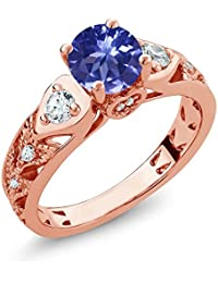 216 ct round blue tanzanite aaaa 18k rose gold plated silver engagement ring - Rose Gold Wedding Rings For Women