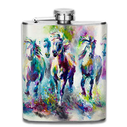 - MISSMORN Stainless Steel Flask, Whiskey Flask Vodka Alcohol Flask Abstract Colorful Watercolor Running Horse Portable Pocket Bottle, Bag Bottle, Camping Wine Bottle, Suitable For Men And Women 7oz