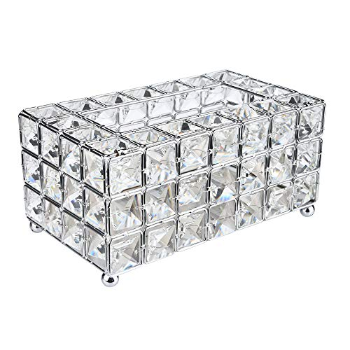 - Handmade Square Crystal Tissue Box Tray 200pc Paper Towel Storage (Silver) , Silver Rectangle Cover Luxury Toilet Holder for on Bathroom Vanity/Countertop/Bedroom Dresser/Night Stand/Desk/Table Rectan