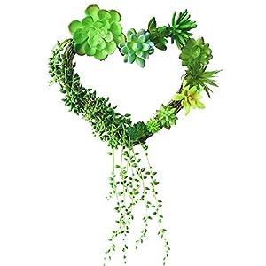 Fycooler Artificial Succulent Plants Succulent wreath for door/wall Fake Succulents for Wedding Decor heart shape decoration succulent wreath Bulk Faux Succulents for Wreaths Or Home Accents 97