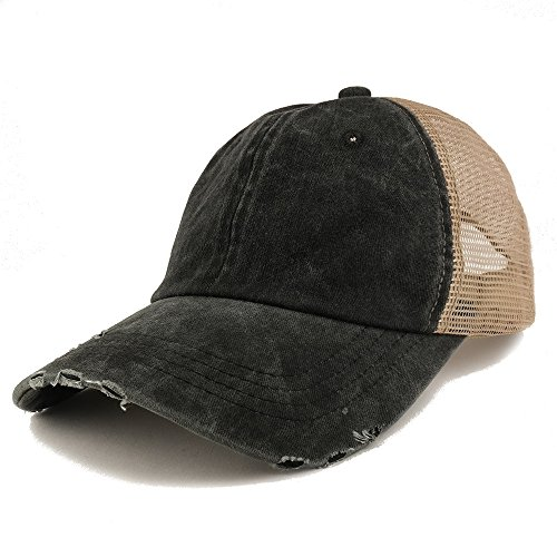 Trendy Apparel Shop Pigment Dyed Front Mesh Back Frayed Bill Trucker Cap - Black
